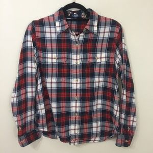 Chaps Large Petite Flip Cuff Button Up Flannel
